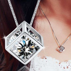 NEW 925 Sterling Silver Diamond Cube Necklace